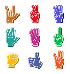 foam fingers colorful icon set vector image