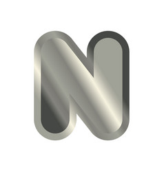 letter n steel font metal alphabet sign iron abc vector image