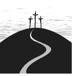 banner on good friday with three crosses vector image