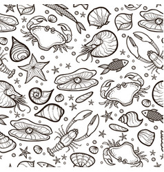 crab and shell seamless pattern vector image
