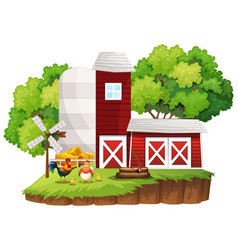 farm scene with chickens by the barns vector image vector image