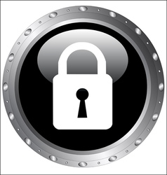 Black Button Icons - Lock Icon on a web button vector image
