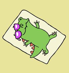 Funny dinosaur sunbathing on the beach vector