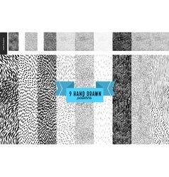 Hand drawn back and white patterns set vector image