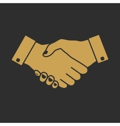 Handshake icon gold vector image vector image