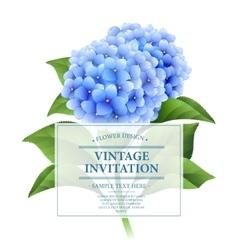 Invitation card Blue hydrangea flowers Vintage vector image vector image