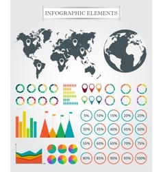 map markers arrows pie for infographic vector image