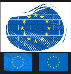 Scratched EU flag vector image vector image