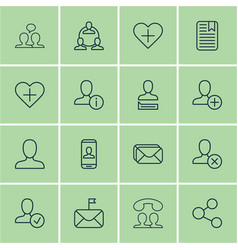 set of 16 social icons includes teamwork web vector image vector image
