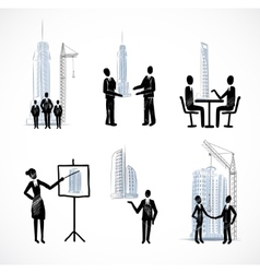 Set of the business people with buildings vector image