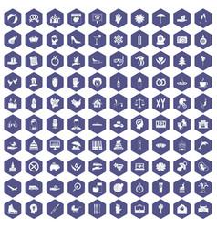 100 joy icons hexagon purple vector