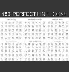 180 modern thin line icons set cyber security vector