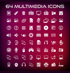 64 multimedia flat icon pack vector