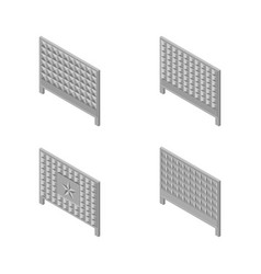 a set of isometric spans fences vector image