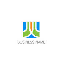 abstract square business company logo vector image
