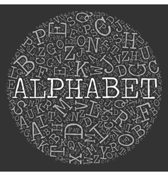 Alphabet circle theme with letter pattern on the vector image