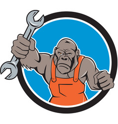 Angry Gorilla Mechanic Spanner Circle Cartoon vector image