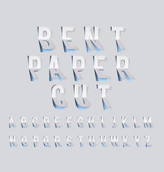 Bent paper cut font template alphabet vector
