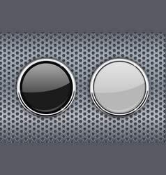 Black and white round glass buttons with chrome vector