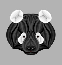black panda bear picture of panda head in black vector image