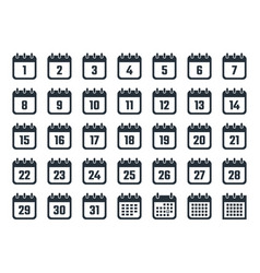 calendar icons set with dates from 1 to 31 vector image