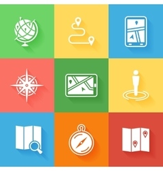 cartography location and navigation icons vector image