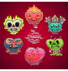 cartoon valentine hearts set vector image