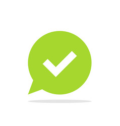 check mark on background of green speech bubble vector image