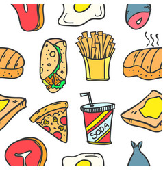 Collection of food element various doodles vector