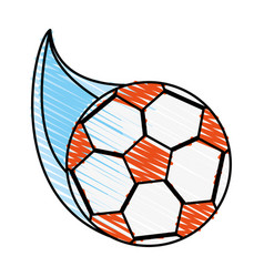 color crayon stripe cartoon soccer ball with speed vector image