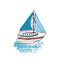 colorful drawing of passenger ship sailing boat vector image