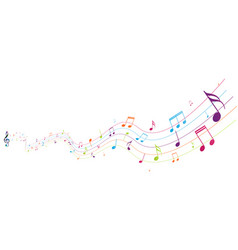 Colorful music notes background isolated on white vector