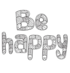 Coloring pages for adults book Word be happy vector