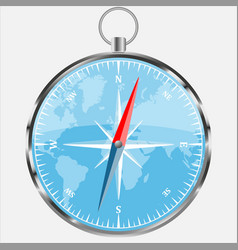 compass with blue world background realistic vect vector image