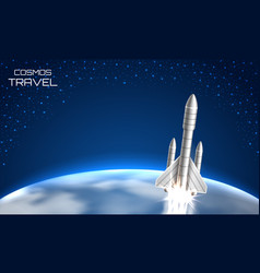 cosmos travel background with spacecraft space vector image