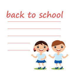 Cute boy and girl with blank back to school vector
