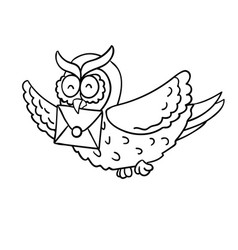 cute cartoon wise flying post owl with mail vector image