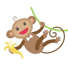 Cute monkey with banana vector image vector image