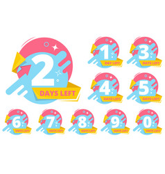 day left badges numbers shopping sales time vector image