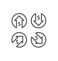 Dollar increase decrease icon money symbol vector