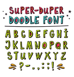 Doodle font with funny 3d effect vector