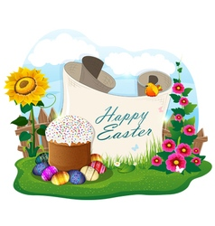 Easter bread and painted eggs and paper scroll vector