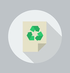 Eco Flat Icon Recycle document vector image