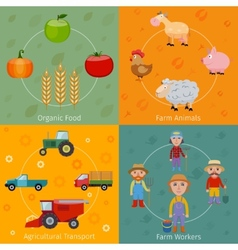 Farm icons set flat vector