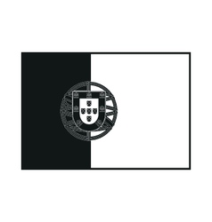 Flag of Portugal monochrome on white background vector