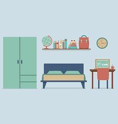 Flat Design Bedroom Interior vector image