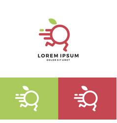 Fruit delivery distribution logo app fast dash vector