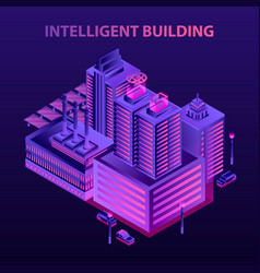 Futuristic intelligent building concept background vector