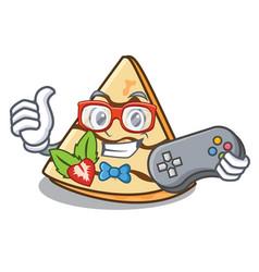 Gamer crepe mascot cartoon style vector