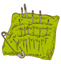green pincushion with safety pin and needles vector image